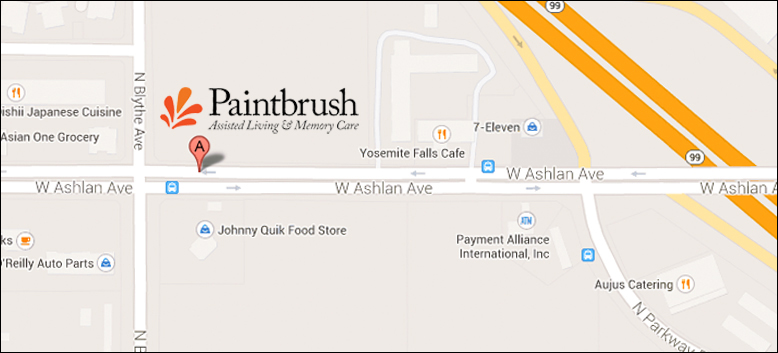 Map of location of Paintbrush Living Facilities in Fresno, CA
